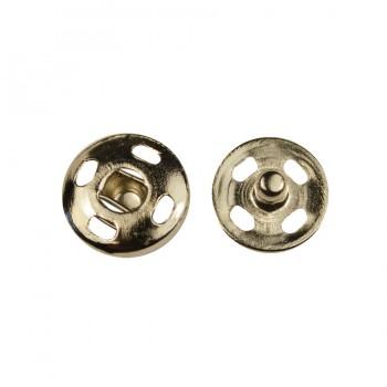 Кнопка металлическая, пришивная,14мм цвет никель