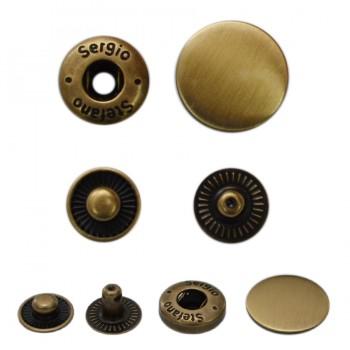 Кнопка установочная металлическая, 15мм цвет антик