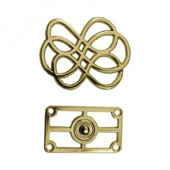 Кнопка установочная металлическая, 35*45мм цвет золото
