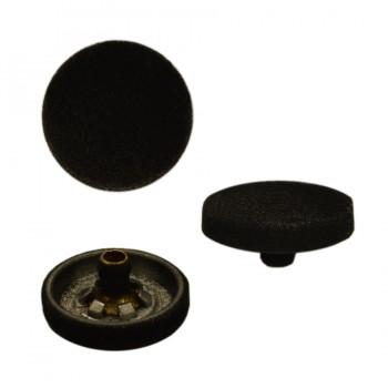Кнопка установочная металлическая бархатная, 15мм цвет черный