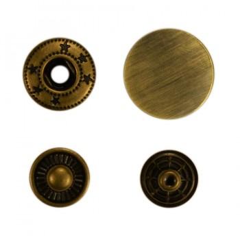Кнопка установочная металлическая, 15мм цвет тертый антик