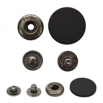Кнопка установочная металлическая, 15мм цвет черный тач