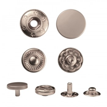 Кнопка установочная металлическая, 17мм цвет матовый никель