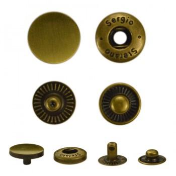 Кнопка установочная металлическая, 17 мм цвет тертый антик