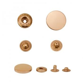 Кнопка установочная металлическая, 17мм цвет золото