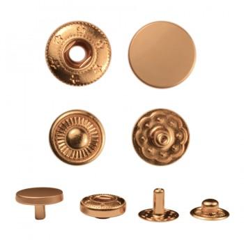 Кнопка установочная металлическая, 17мм цвет матовое золото