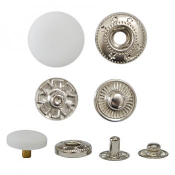 Кнопка установочная металлическая, цвет белый тач