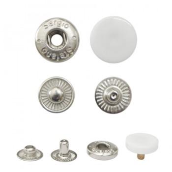 Кнопка установочная металлическая, 12,5мм, цвет никель+ белый глянец