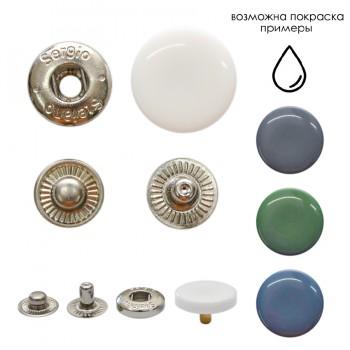 Кнопка установочная металлическая, 15мм,  цвет никель+ белый глянец