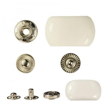 Кнопка установочная металлическая, 25*15мм цвет никель+ белый глянец