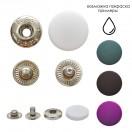 Кнопка установочная металлическая, цвет никель+белый матовый