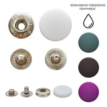 Кнопка установочная металлическая, 15мм, цвет никель+белый матовый