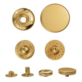 Кнопка установочная металлическая, усиленная,17мм цвет матовое золото