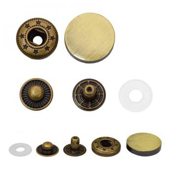 Кнопка установочная металлическая, усиленная,20мм цвет тертый антик