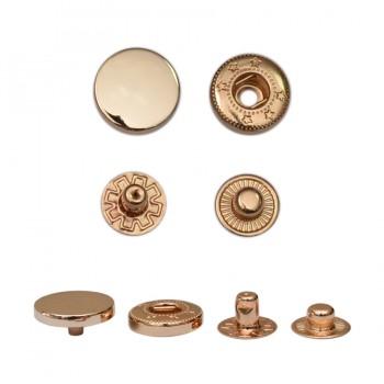 Кнопка установочная металлическая, 13мм цвет золото