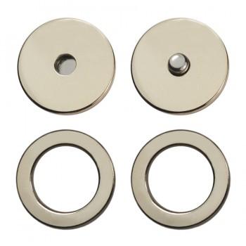 Кнопка установочная металлическая, 25мм цвет никель