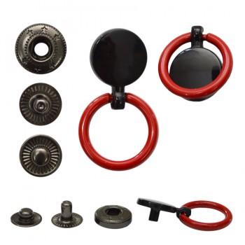 Кнопка установочная металлическая, 13мм цвет черный+красное кольцо