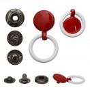 Кнопка установочная металлическая, 13мм цвет красный+белое кольцо