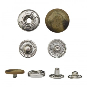 Кнопка установочная металлическая, 15мм цвет коричневый матовый