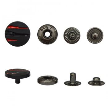 Кнопка установочная металлическая, 10мм цвет черный+красный