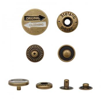 Кнопка установочная металлическая, 15мм, ORIGINAL CLOTHING, цвет антик
