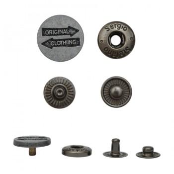 Кнопка установочная металлическая, 15мм, ORIGINAL CLOTHING, цвет черненое серебро