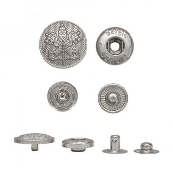 Кнопка установочная металлическая, 17.5мм, герб, цвет матовый никель