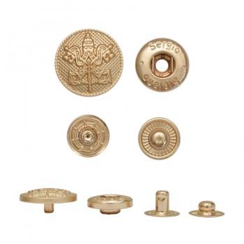 Кнопка установочная металлическая, 17.5мм, герб, цвет матовое золото