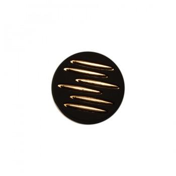 Кнопка установочная металлическая, 18мм, цвет золото+черный