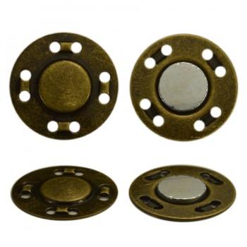 Кнопка металлическая, пришивная,21мм магнит, цвет антик