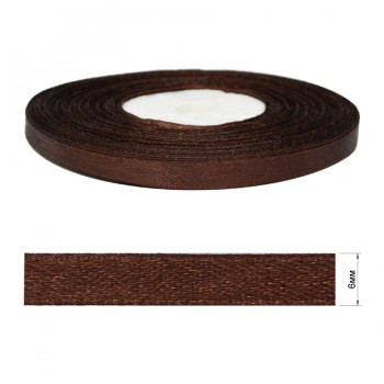 Лента атласная 0.6см, цвет 078-шоколад