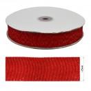 Лента репсовая c люрексом 2,5см, цвет красный+серебро