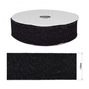Лента репсовая c люрексом 3,8см, цвет черный+серебро