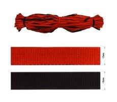 Шнур плоский хлопковый двусторонний 8мм цвет черный+красный