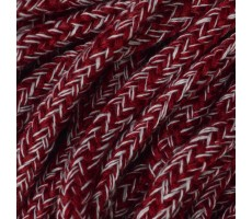 Шнур круглый полиэстер+хлопок 5мм цвет бордово-белый