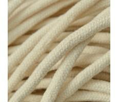 Шнур круглый хлопковый плетельный с наполнителем 6мм цвет 102 бежевый