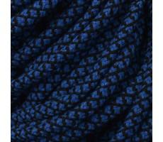 Шнур круглый хлопковый плетельный с наполнителем 6мм цвет василек+черный