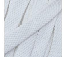 Шнур плоский хлопковый плетельный 10мм цвет 001 белый