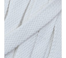 Шнур плоский хлопковый плетельный 15мм цвет 001 белый