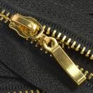 Молния металлическая неразъемная 3Т, 18см, слайдер палочка, зубцы золото, цвет 322-чёрный
