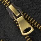 Молния металлическая неразъемная 5Т, 18см, шлифованная, слайдер G40, зубцы тертый антик, цвет 322-черный