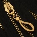 Молния металлическая разъемная 5Т, 90см, слайдер кривая капля, зубцы светлое золото, цвет 322-черный