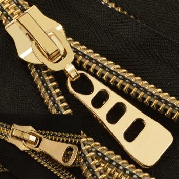 Молния витая разъёмная Т10, 90см, зубцы cв. золото, 2 cлайдера, слайдер Н37, цвет 322-черный