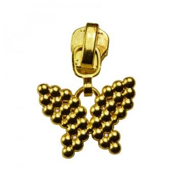 Слайдер на молнию металлическую, тип 3, бабочка, цвет желтое золото